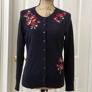 Navy embroidered floral cardigan